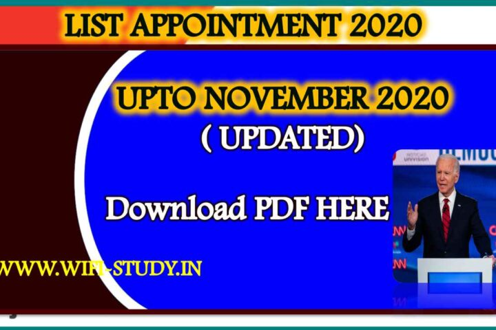 LIST OF APPOINTEMENTS UPTO NOVEMBER 2020
